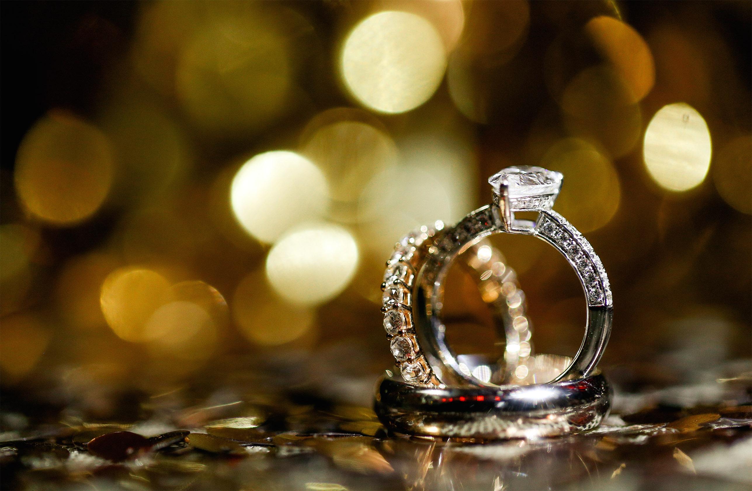 Pair of diamond wedding rings